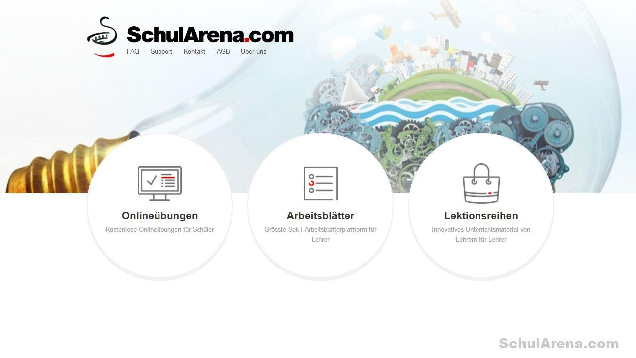 SchulArena.com Was bietet SchulArena.com? «SchulArena.com ist in drei Teilbereiche aufgeteilt. 1. Onlineübungen für Schülerinnen und Schüler 2. Arbeit