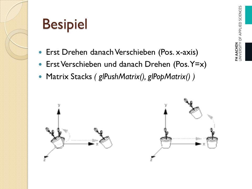 Besipiel Erst Drehen danach Verschieben (Pos. x-axis) Erst Verschieben und danach Drehen (Pos. Y=x) Matrix Stacks ( glPushMatrix(), glPopMatrix() )