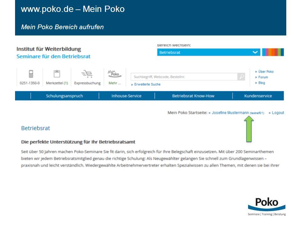 www.poko.de – Mein Poko Mein Poko Bereich aufrufen