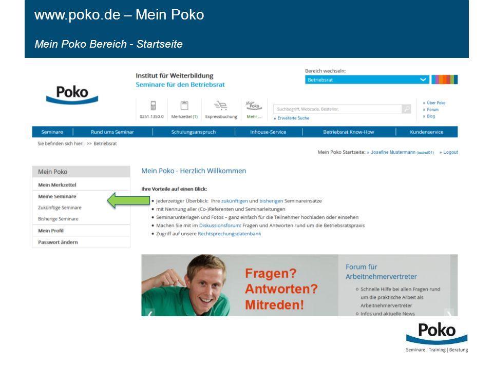 www.poko.de – Mein Poko Mein Poko Bereich - Startseite