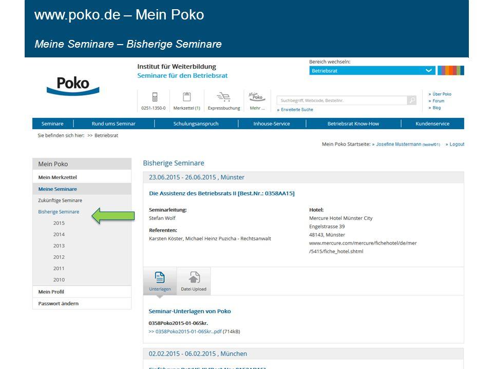 Meine Seminare – Bisherige Seminare www.poko.de – Mein Poko