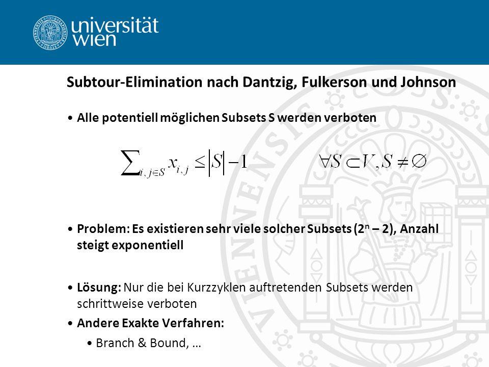 Subtour-Elimination nach Dantzig, Fulkerson und Johnson Alle potentiell möglichen Subsets S werden verboten Problem: Es existieren sehr viele solcher Subsets (2 n – 2), Anzahl steigt exponentiell Lösung: Nur die bei Kurzzyklen auftretenden Subsets werden schrittweise verboten Andere Exakte Verfahren: Branch & Bound, …