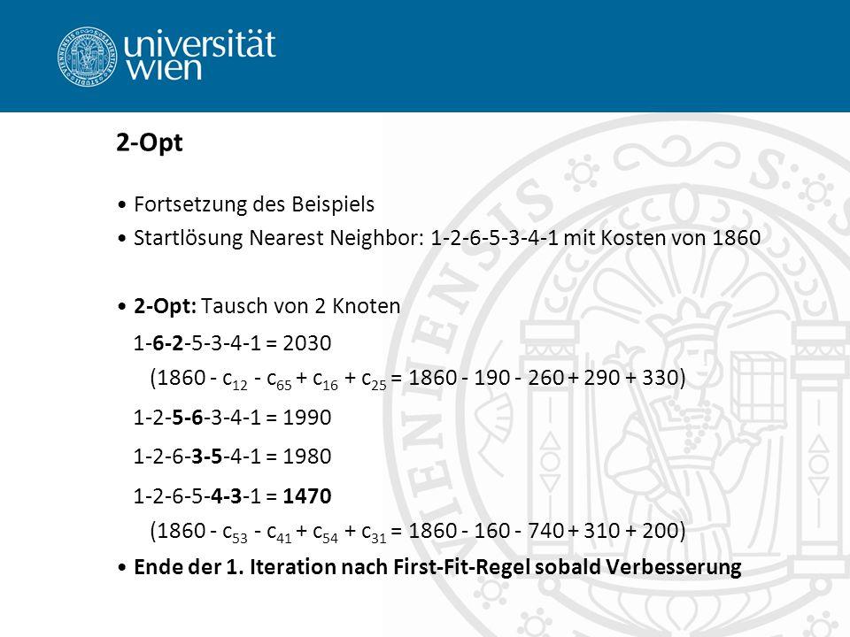 2-Opt Fortsetzung des Beispiels Startlösung Nearest Neighbor: 1-2-6-5-3-4-1 mit Kosten von 1860 2-Opt: Tausch von 2 Knoten 1-6-2-5-3-4-1 = 2030 (1860 - c 12 - c 65 + c 16 + c 25 = 1860 - 190 - 260 + 290 + 330) 1-2-5-6-3-4-1 = 1990 1-2-6-3-5-4-1 = 1980 1-2-6-5-4-3-1 = 1470 (1860 - c 53 - c 41 + c 54 + c 31 = 1860 - 160 - 740 + 310 + 200) Ende der 1.