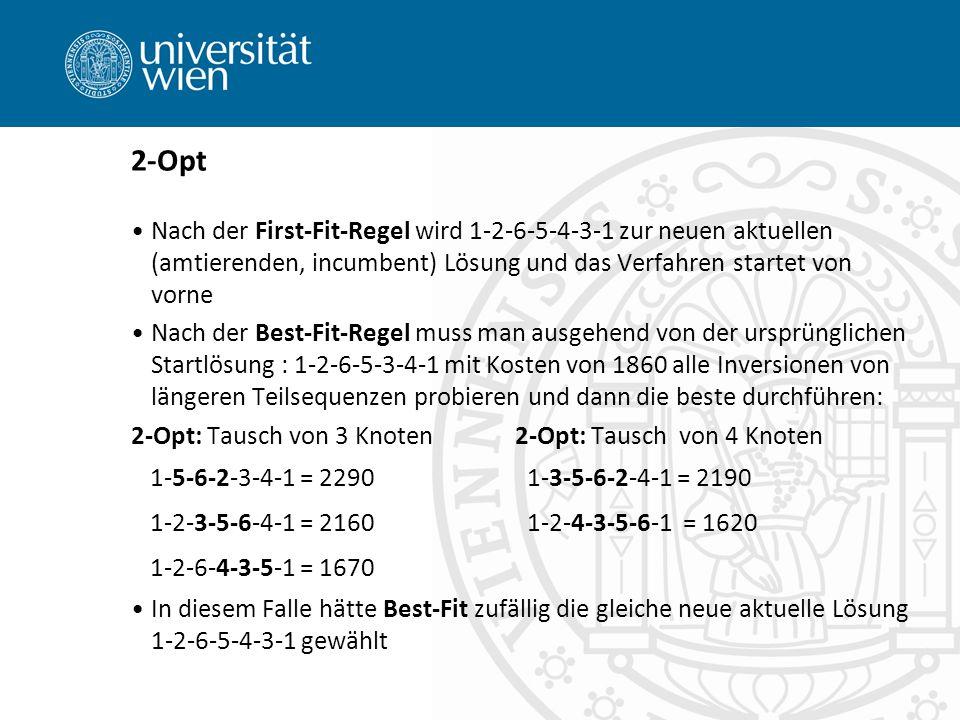 2-Opt Nach der First-Fit-Regel wird 1-2-6-5-4-3-1 zur neuen aktuellen (amtierenden, incumbent) Lösung und das Verfahren startet von vorne Nach der Best-Fit-Regel muss man ausgehend von der ursprünglichen Startlösung : 1-2-6-5-3-4-1 mit Kosten von 1860 alle Inversionen von längeren Teilsequenzen probieren und dann die beste durchführen: 2-Opt: Tausch von 3 Knoten2-Opt: Tausch von 4 Knoten 1-5-6-2-3-4-1 = 2290 1-3-5-6-2-4-1 = 2190 1-2-3-5-6-4-1 = 2160 1-2-4-3-5-6-1 = 1620 1-2-6-4-3-5-1 = 1670 In diesem Falle hätte Best-Fit zufällig die gleiche neue aktuelle Lösung 1-2-6-5-4-3-1 gewählt