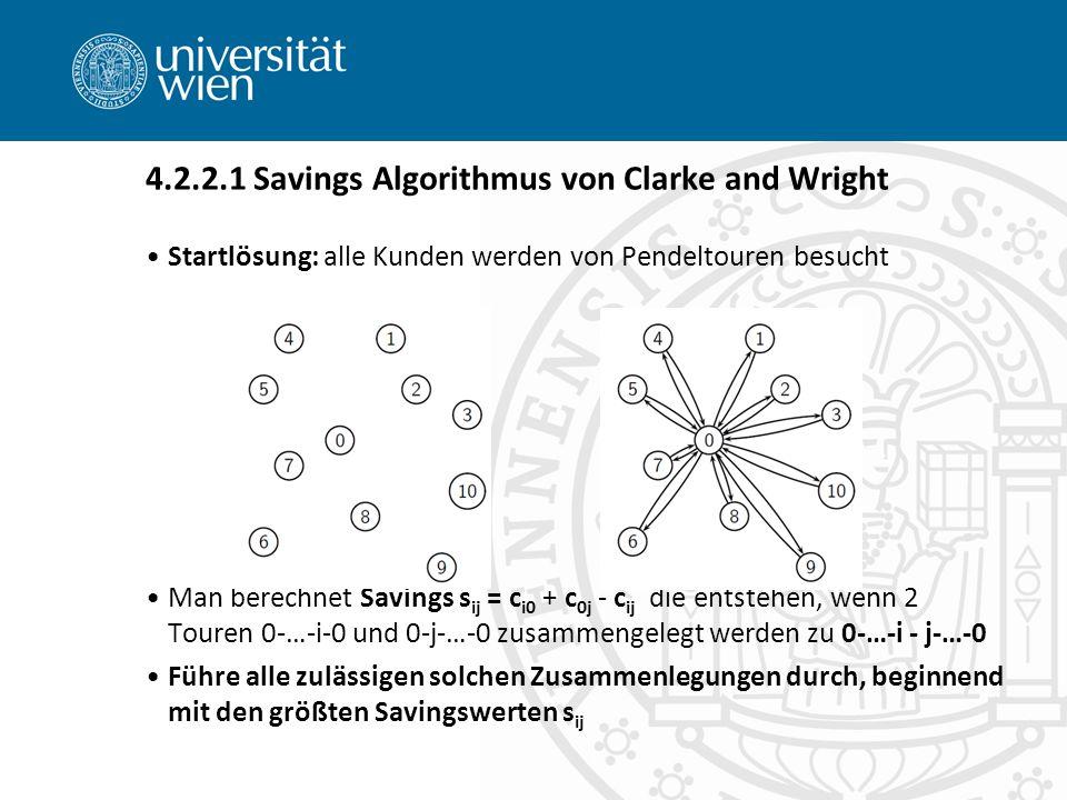 Startlösung: alle Kunden werden von Pendeltouren besucht Man berechnet Savings s ij = c i0 + c 0j - c ij die entstehen, wenn 2 Touren 0-…-i-0 und 0-j-…-0 zusammengelegt werden zu 0-…-i - j-…-0 Führe alle zulässigen solchen Zusammenlegungen durch, beginnend mit den größten Savingswerten s ij 4.2.2.1 Savings Algorithmus von Clarke and Wright