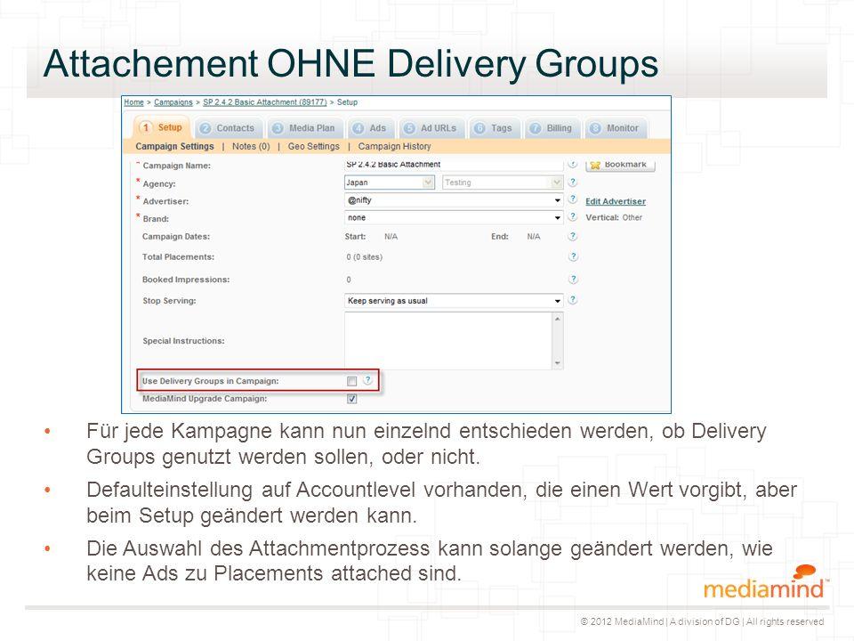 © 2012 MediaMind | A division of DG | All rights reserved Attachement OHNE Delivery Groups Für jede Kampagne kann nun einzelnd entschieden werden, ob