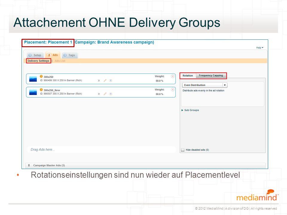© 2012 MediaMind | A division of DG | All rights reserved Rotationseinstellungen sind nun wieder auf Placementlevel Attachement OHNE Delivery Groups