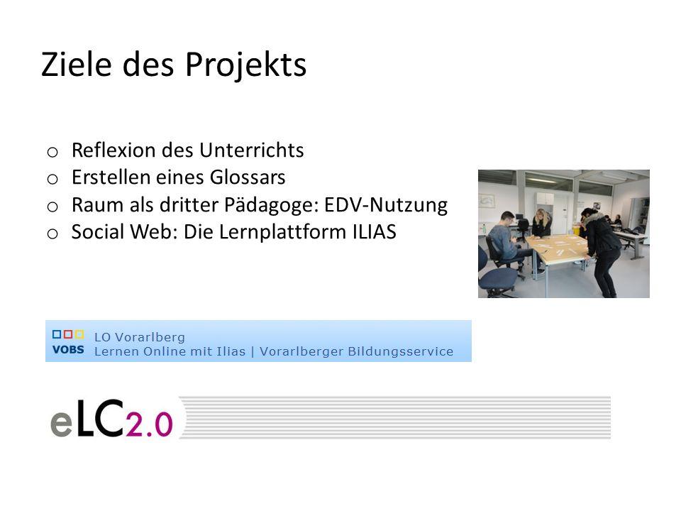 Ziele des Projekts o Reflexion des Unterrichts o Erstellen eines Glossars o Raum als dritter Pädagoge: EDV-Nutzung o Social Web: Die Lernplattform ILIAS