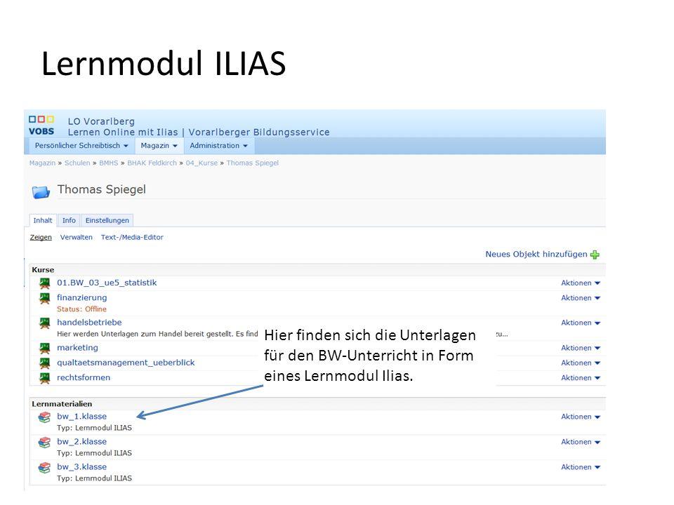 Lernmodul ILIAS Hier finden sich die Unterlagen für den BW-Unterricht in Form eines Lernmodul Ilias.