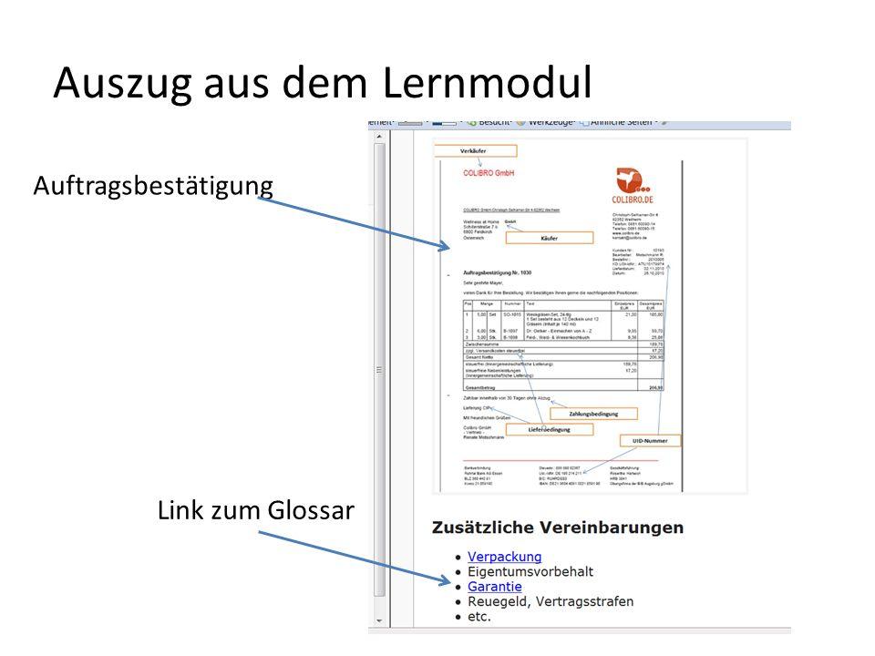 Auszug aus dem Lernmodul Link zum Glossar Auftragsbestätigung
