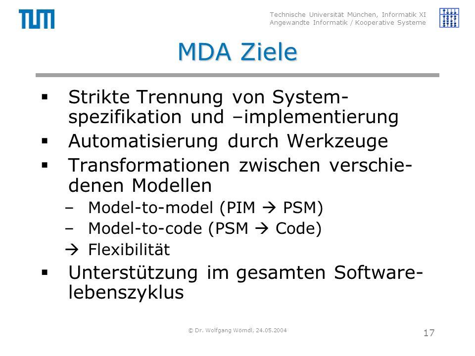 Technische Universität München, Informatik XI Angewandte Informatik / Kooperative Systeme © Dr. Wolfgang Wörndl, 24.05.2004 17 MDA Ziele  Strikte Tre