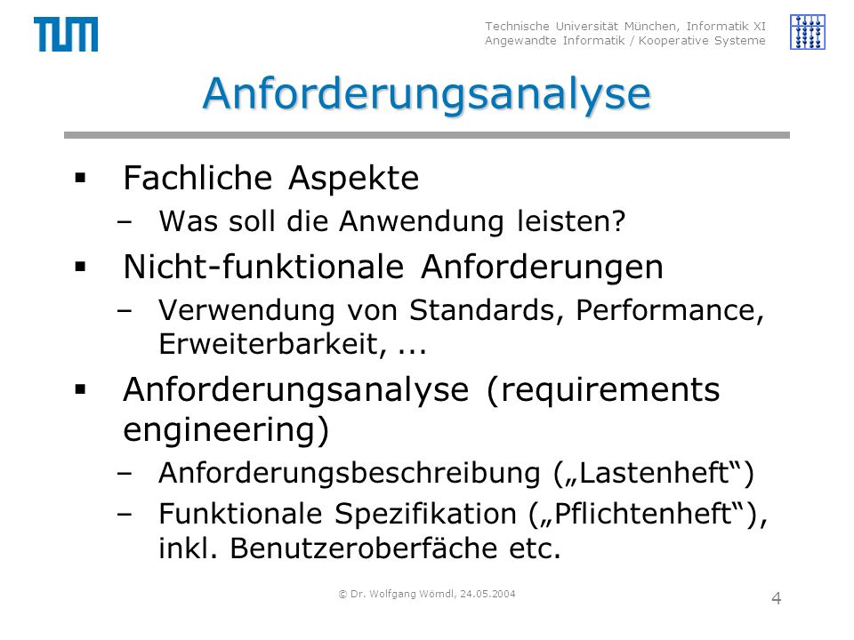 Technische Universität München, Informatik XI Angewandte Informatik / Kooperative Systeme © Dr. Wolfgang Wörndl, 24.05.2004 4 Anforderungsanalyse  Fa