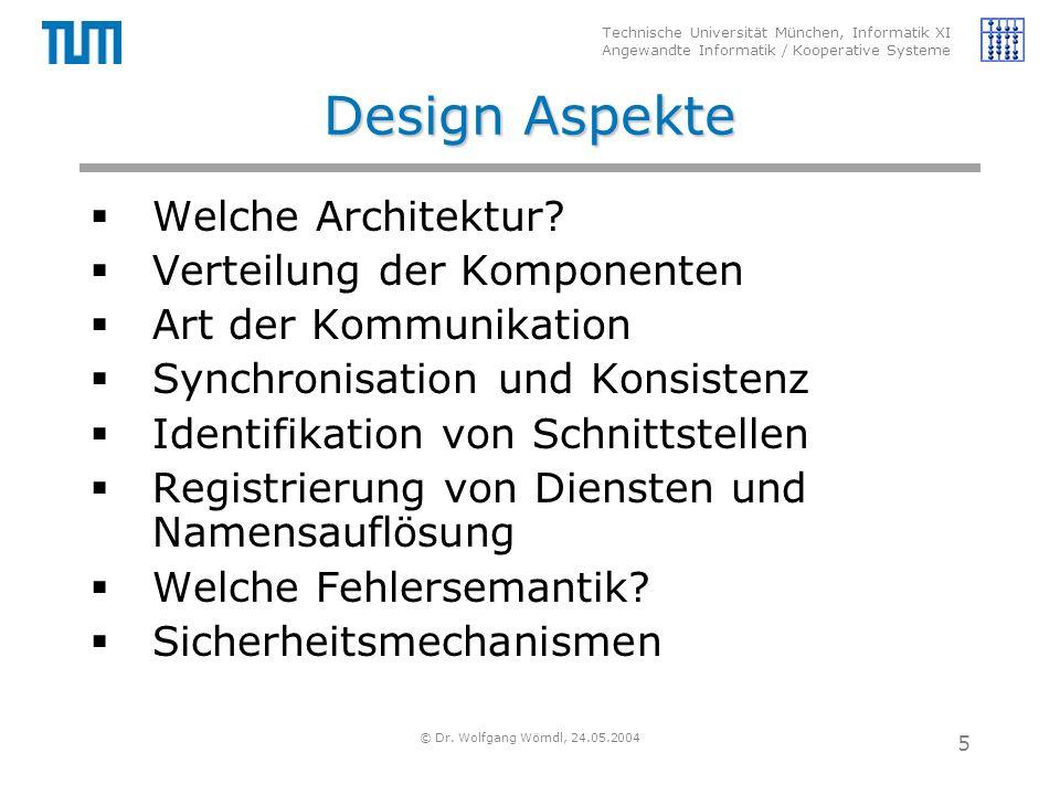 Technische Universität München, Informatik XI Angewandte Informatik / Kooperative Systeme © Dr. Wolfgang Wörndl, 24.05.2004 5 Design Aspekte  Welche