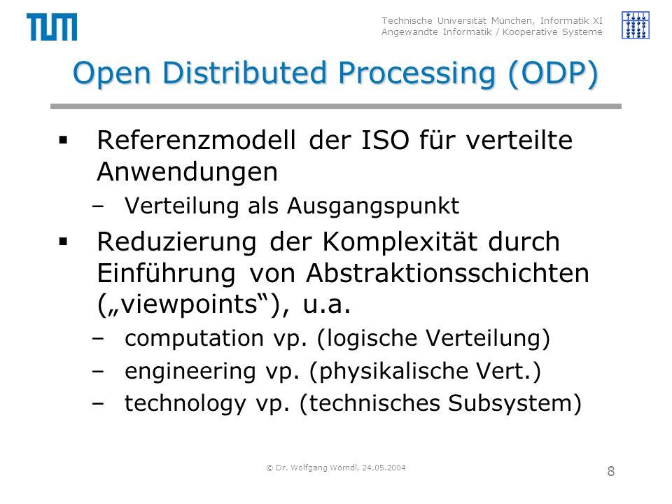 Technische Universität München, Informatik XI Angewandte Informatik / Kooperative Systeme © Dr. Wolfgang Wörndl, 24.05.2004 8 Open Distributed Process