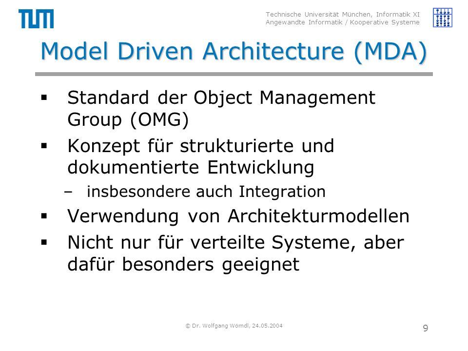 Technische Universität München, Informatik XI Angewandte Informatik / Kooperative Systeme © Dr. Wolfgang Wörndl, 24.05.2004 9 Model Driven Architectur