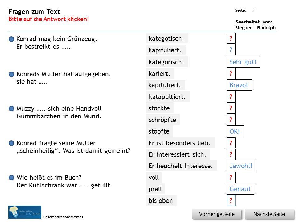 Übungsart: Seite: Bearbeitet von: Siegbert Rudolph Lesemotivationstraining Konrad mag kein Grünzeug.
