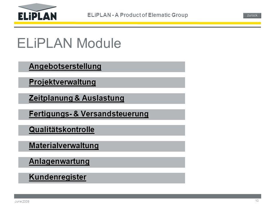 ELiPLAN - A Product of Elematic Group 10 June 2009 ELiPLAN Module Angebotserstellung Projektverwaltung Zeitplanung & Auslastung Zeitplanung & Auslastu