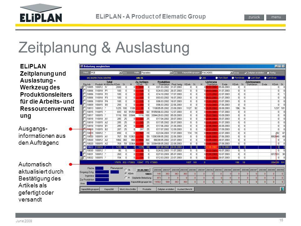 ELiPLAN - A Product of Elematic Group 15 June 2009 Zeitplanung & Auslastung ELiPLAN Zeitplanung und Auslastung - Werkzeug des Produktionsleiters für d