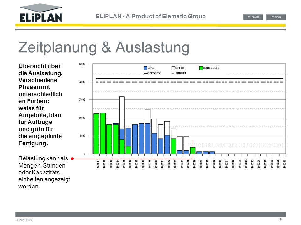 ELiPLAN - A Product of Elematic Group 16 June 2009 Zeitplanung & Auslastung Belastung kann als Mengen, Stunden oder Kapazitäts- einheiten angezeigt we