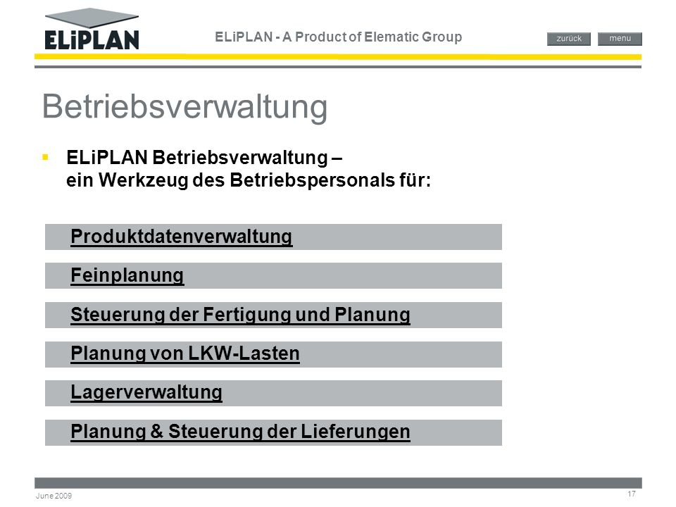 ELiPLAN - A Product of Elematic Group 17 June 2009 Betriebsverwaltung Produktdatenverwaltung Feinplanung Steuerung der Fertigung und Planung Planung v