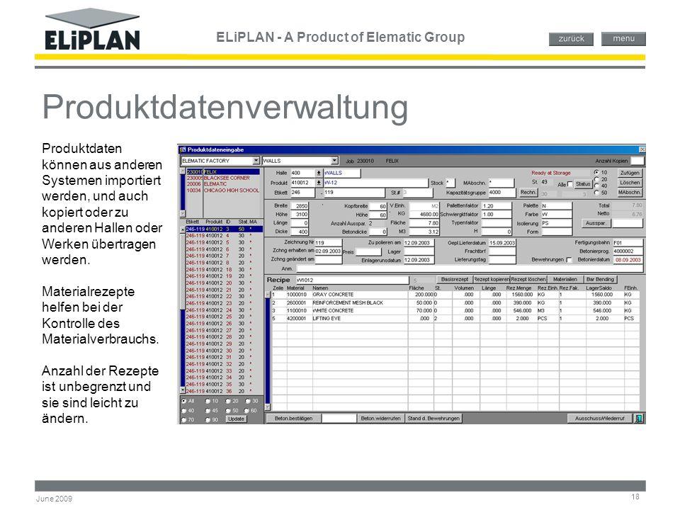 ELiPLAN - A Product of Elematic Group 18 June 2009 Produktdatenverwaltung Produktdaten können aus anderen Systemen importiert werden, und auch kopiert