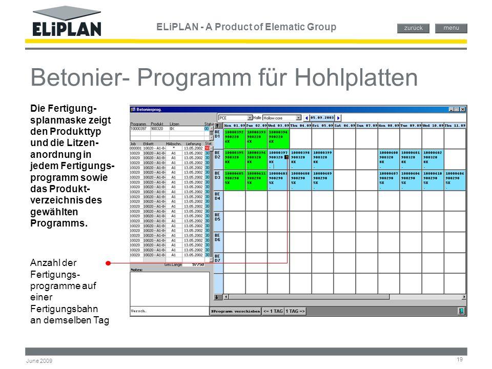 ELiPLAN - A Product of Elematic Group 19 June 2009 Betonier- Programm für Hohlplatten Anzahl der Fertigungs- programme auf einer Fertigungsbahn an dem