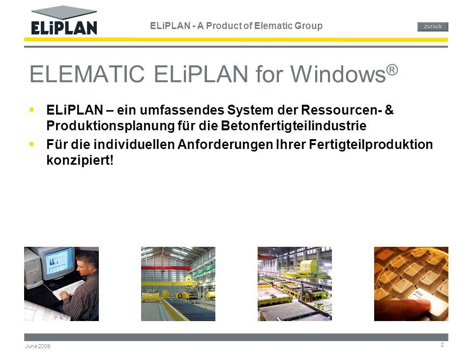 ELiPLAN - A Product of Elematic Group 3 June 2009 Hintergrundinformation von ELiPLAN  In Zusammenarbeit mit einem der führenden Fertigteilhersteller in Europa entwickelt  Speziell für die Fertigteilherstellung  Seit 1998 im Einsatz  Schnell wachsende Anzahl zufriedener Anwender in den USA und in Europa