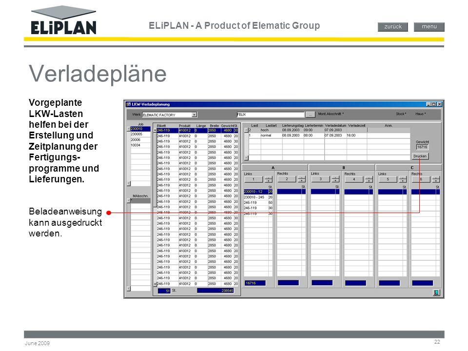 ELiPLAN - A Product of Elematic Group 22 June 2009 Verladepläne Vorgeplante LKW-Lasten helfen bei der Erstellung und Zeitplanung der Fertigungs- progr