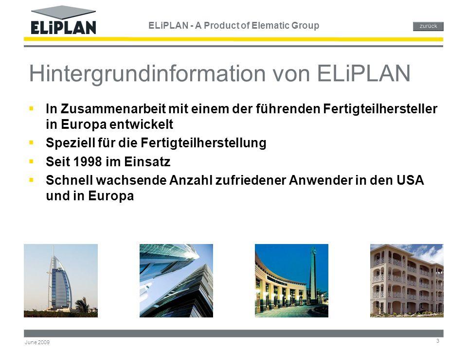 ELiPLAN - A Product of Elematic Group 34 June 2009 Elematic Produktionsautomatisierung MODEM PC CAD Elematic ELiPLAN System der Ressourcenplanung PC ELEMATIC ELiPOSI Positionierung Plotter EL480Säge EL1300 AReifekontrolleFertigungslinie KübelbahnMischanlage Heizanlage ELEMATIC ELiMAT Reifekontrolle ELEMATIC ELiLINE Fertigungslinien- steuerung ELEMATIC ELiMIX Mischanlagen- steuerung