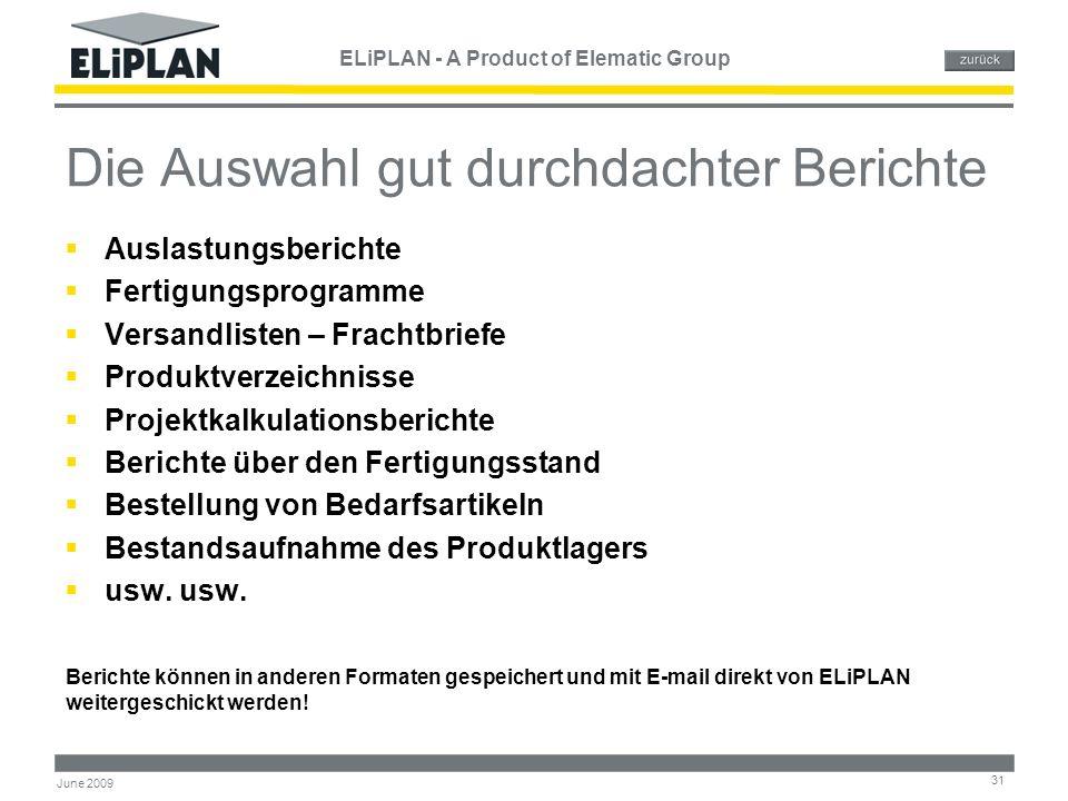 ELiPLAN - A Product of Elematic Group 31 June 2009 Die Auswahl gut durchdachter Berichte  Auslastungsberichte  Fertigungsprogramme  Versandlisten –