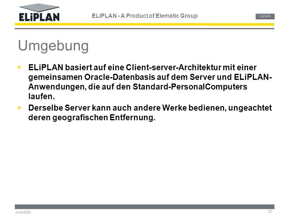 ELiPLAN - A Product of Elematic Group 33 June 2009 Umgebung  ELiPLAN basiert auf eine Client-server-Architektur mit einer gemeinsamen Oracle-Datenbas