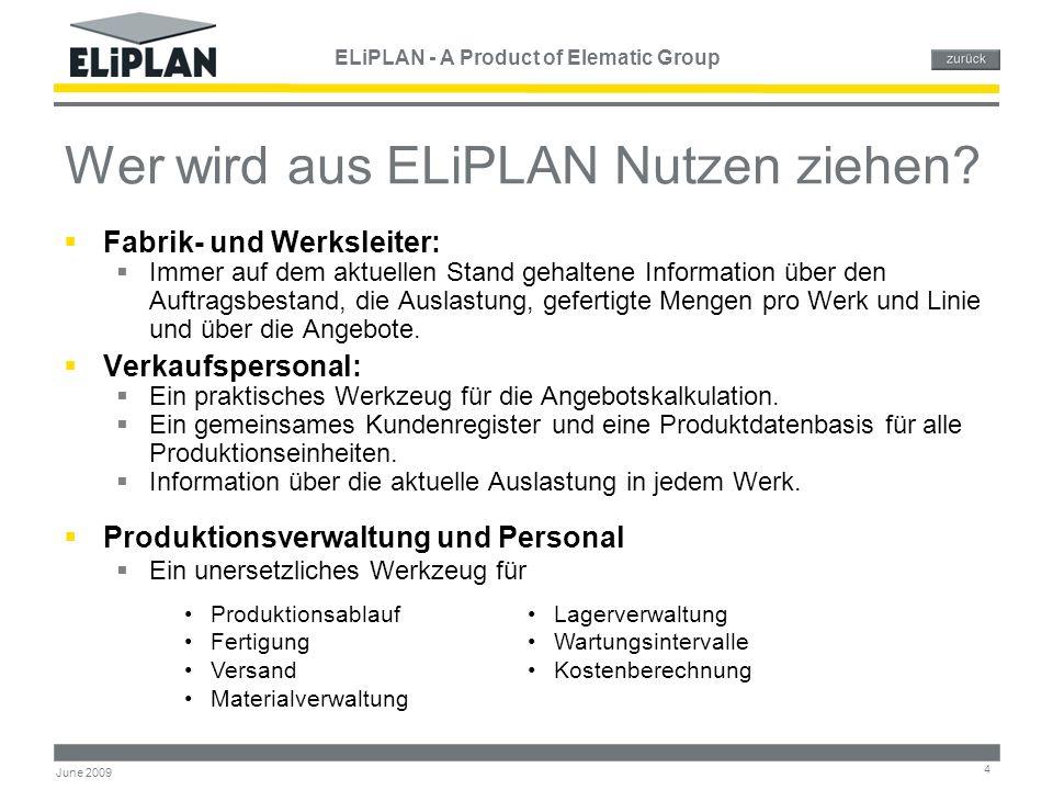 ELiPLAN - A Product of Elematic Group 15 June 2009 Zeitplanung & Auslastung ELiPLAN Zeitplanung und Auslastung - Werkzeug des Produktionsleiters für die Arbeits- und Ressourcenverwalt ung Ausgangs- informationen aus den Aufträgenc Automatisch aktualisiert durch Bestätigung des Artikels als gefertigt oder versandt