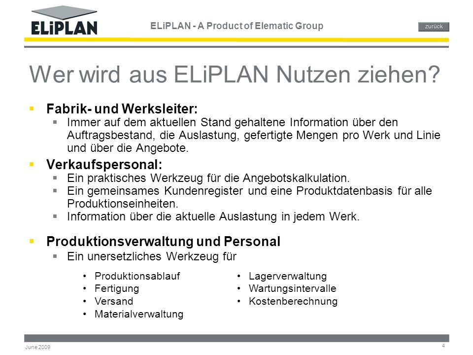 ELiPLAN - A Product of Elematic Group 5 June 2009 Warum ELiPLAN .