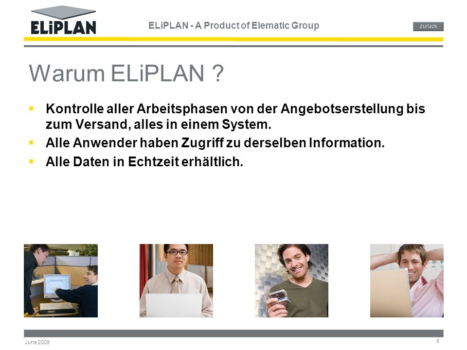 ELiPLAN - A Product of Elematic Group 5 June 2009 Warum ELiPLAN .