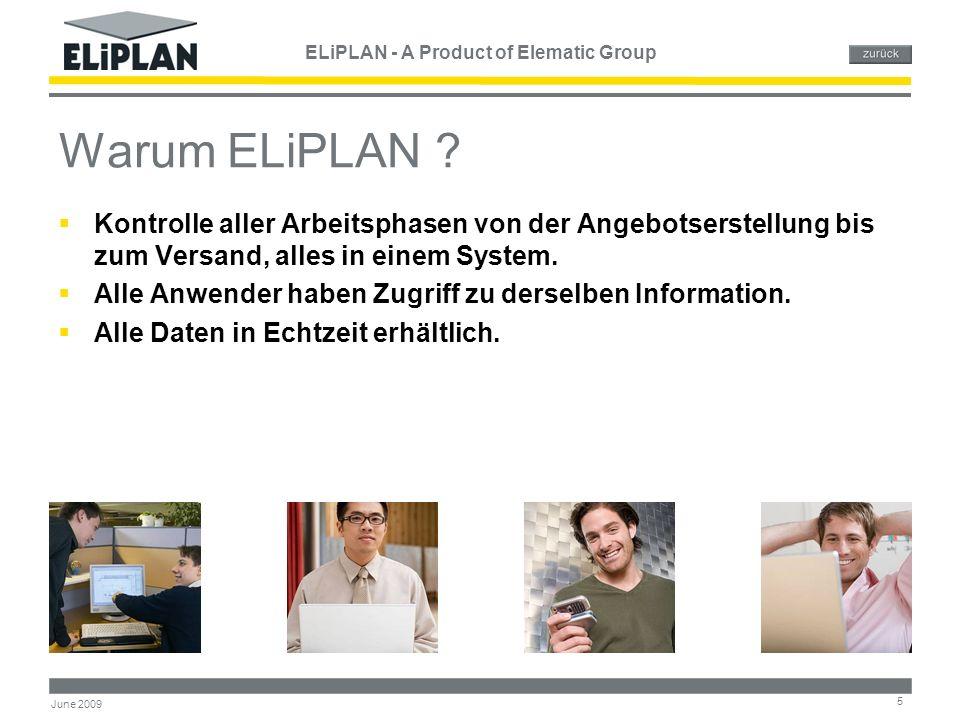 ELiPLAN - A Product of Elematic Group 16 June 2009 Zeitplanung & Auslastung Belastung kann als Mengen, Stunden oder Kapazitäts- einheiten angezeigt werden Übersicht über die Auslastung.