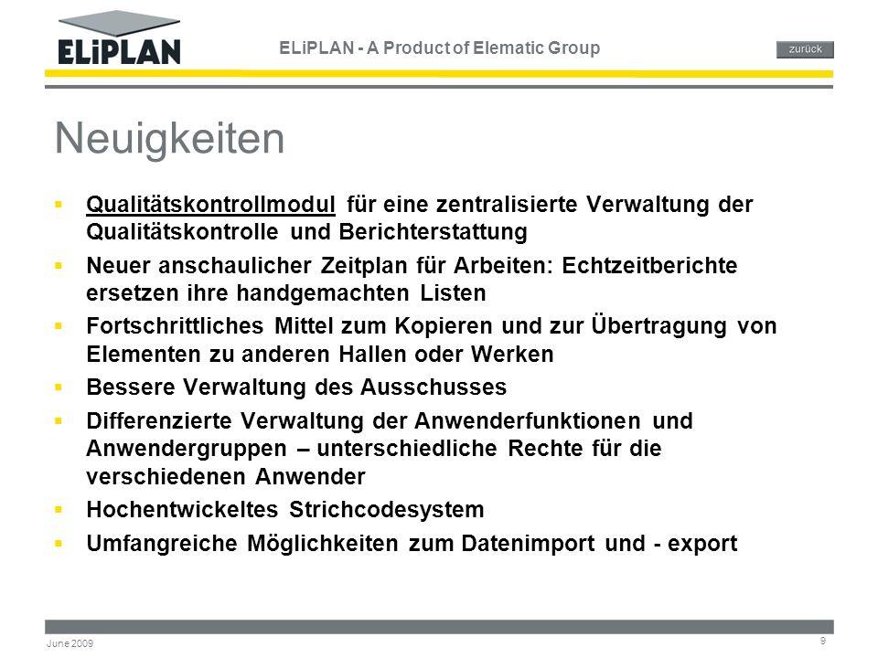 ELiPLAN - A Product of Elematic Group 10 June 2009 ELiPLAN Module Angebotserstellung Projektverwaltung Zeitplanung & Auslastung Zeitplanung & Auslastung Fertigungs- & Versandsteuerung Fertigungs- & Versandsteuerung Qualitätskontrolle Materialverwaltung Anlagenwartung Kundenregister