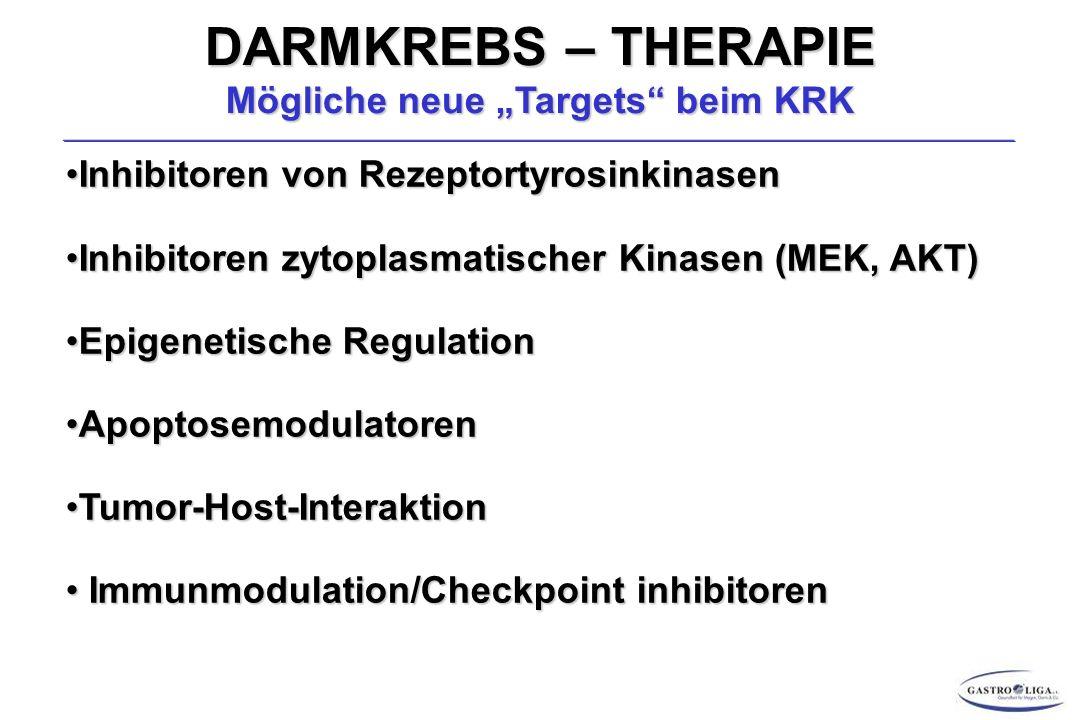 """DARMKREBS – THERAPIE Mögliche neue """"Targets beim KRK Inhibitoren von RezeptortyrosinkinasenInhibitoren von Rezeptortyrosinkinasen Inhibitoren zytoplasmatischer Kinasen (MEK, AKT)Inhibitoren zytoplasmatischer Kinasen (MEK, AKT) Epigenetische RegulationEpigenetische Regulation ApoptosemodulatorenApoptosemodulatoren Tumor-Host-InteraktionTumor-Host-Interaktion Immunmodulation/Checkpoint inhibitoren Immunmodulation/Checkpoint inhibitoren"""