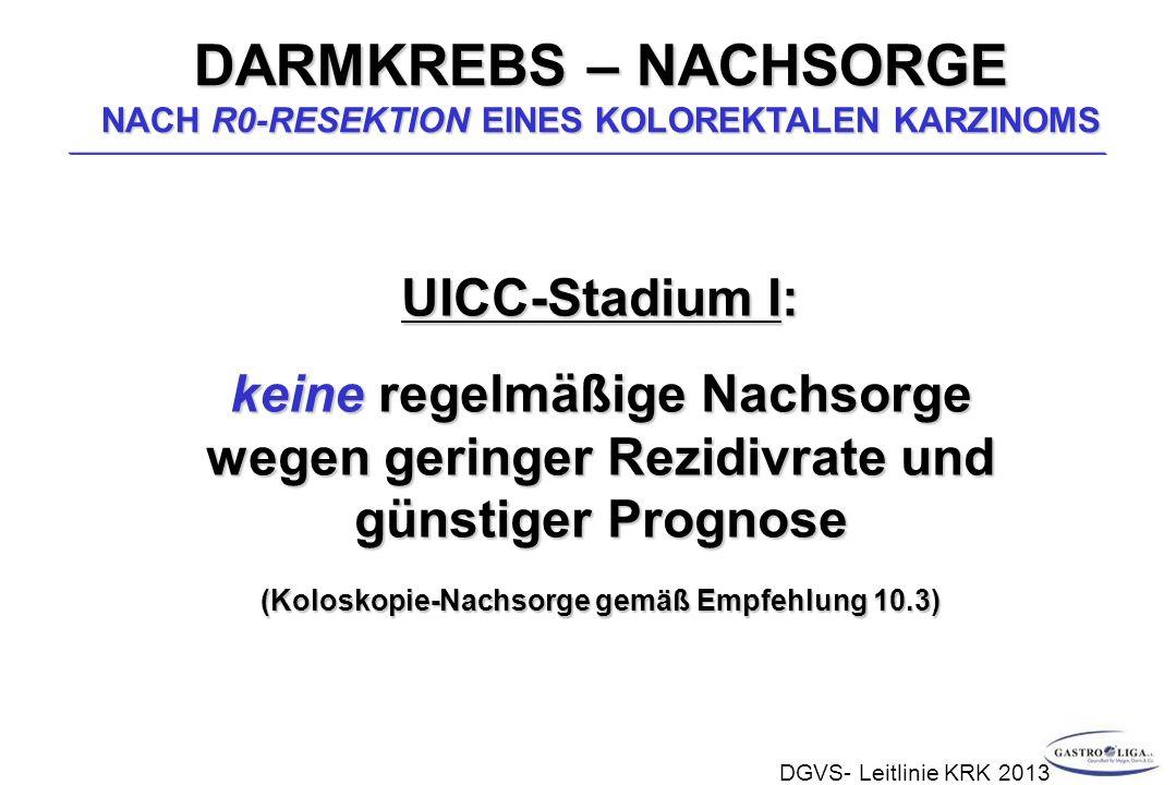 UICC-Stadium I: keine regelmäßige Nachsorge wegen geringer Rezidivrate und günstiger Prognose (Koloskopie-Nachsorge gemäß Empfehlung 10.3) DARMKREBS – NACHSORGE NACH R0-RESEKTION EINES KOLOREKTALEN KARZINOMS DGVS- Leitlinie KRK 2013