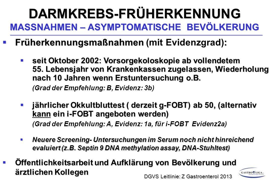 DARMKREBS-FRÜHERKENNUNG MASSNAHMEN – ASYMPTOMATISCHE BEVÖLKERUNG  Früherkennungsmaßnahmen:  Früherkennungsmaßnahmen (mit Evidenzgrad):  seit Oktober 2002: Vorsorgekoloskopie ab vollendetem 55.