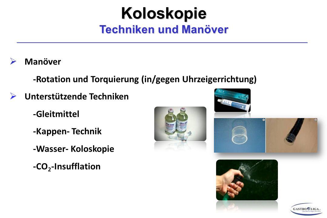 Koloskopie Techniken und Manöver  Manöver -Rotation und Torquierung (in/gegen Uhrzeigerrichtung)  Unterstützende Techniken -Gleitmittel -Kappen- Technik -Wasser- Koloskopie -CO 2 -Insufflation