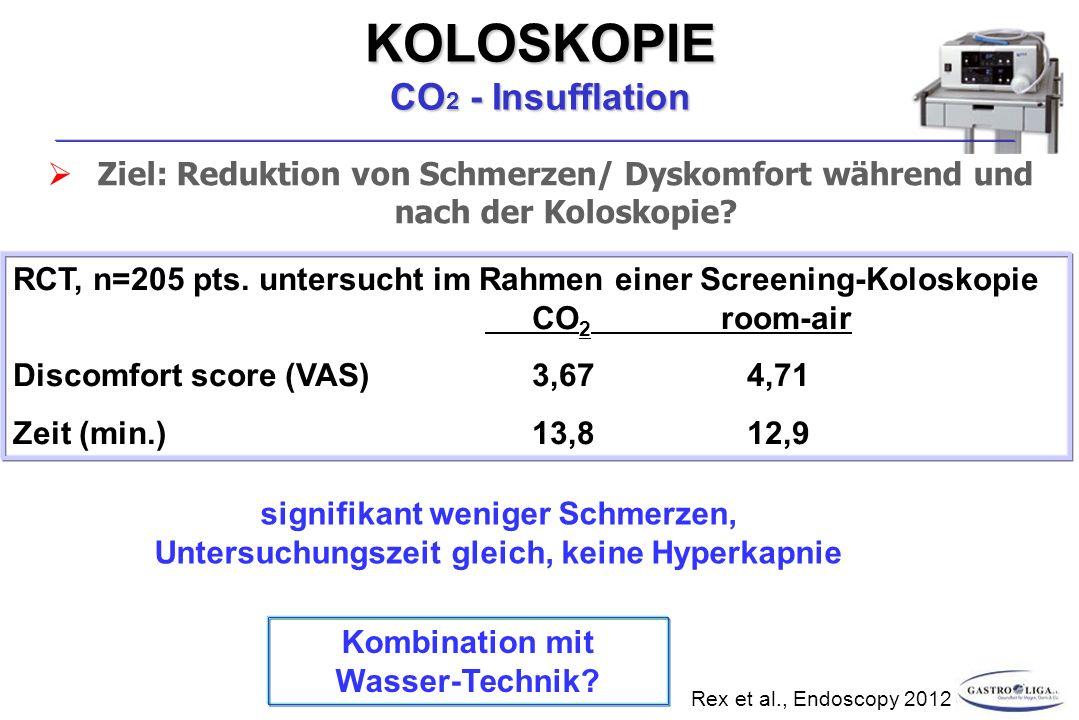 KOLOSKOPIE CO 2 - Insufflation  Ziel: Reduktion von Schmerzen/ Dyskomfort während und nach der Koloskopie.