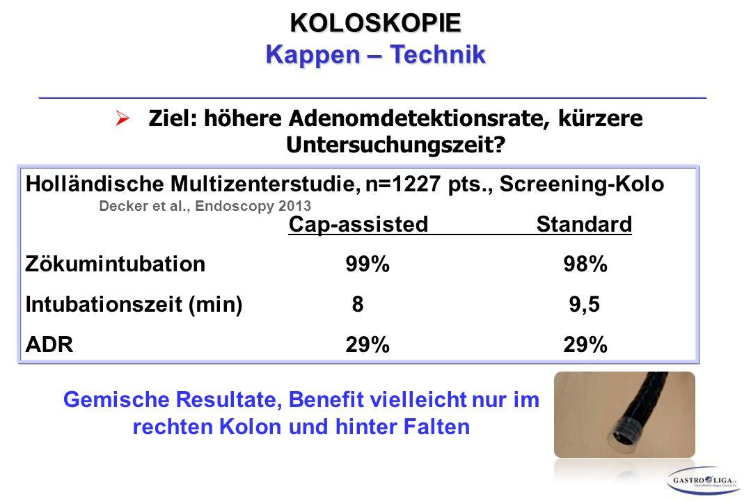 KOLOSKOPIE Kappen – Technik  Ziel: höhere Adenomdetektionsrate, kürzere Untersuchungszeit.