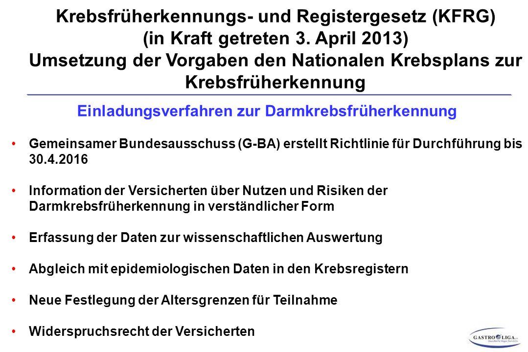 Krebsfrüherkennungs- und Registergesetz (KFRG) (in Kraft getreten 3.