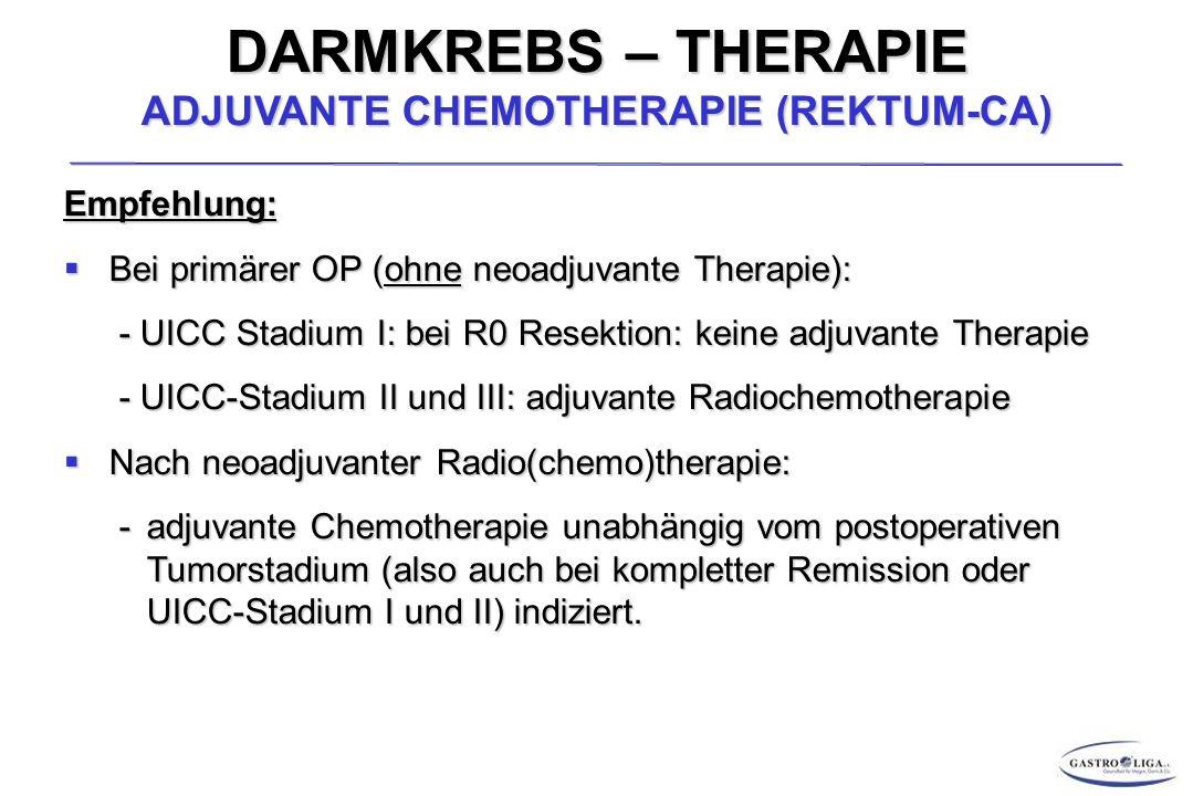 DARMKREBS – THERAPIE ADJUVANTE CHEMOTHERAPIE (REKTUM-CA) Empfehlung:  Bei primärer OP (ohne neoadjuvante Therapie): - UICC Stadium I: bei R0 Resektion: keine adjuvante Therapie - UICC Stadium I: bei R0 Resektion: keine adjuvante Therapie - UICC-Stadium II und III: adjuvante Radiochemotherapie - UICC-Stadium II und III: adjuvante Radiochemotherapie  Nach neoadjuvanter Radio(chemo)therapie: -adjuvante Chemotherapie unabhängig vom postoperativen Tumorstadium (also auch bei kompletter Remission oder UICC-Stadium I und II) indiziert.