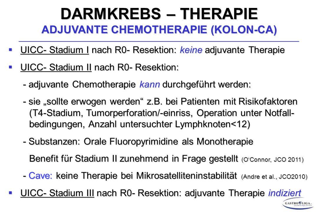 """DARMKREBS – THERAPIE ADJUVANTE CHEMOTHERAPIE (KOLON-CA)  UICC- Stadium I nach R0- Resektion: keine adjuvante Therapie  UICC- Stadium II nach R0- Resektion: - adjuvante Chemotherapie kann durchgeführt werden: - adjuvante Chemotherapie kann durchgeführt werden: - sie """"sollte erwogen werden z.B."""