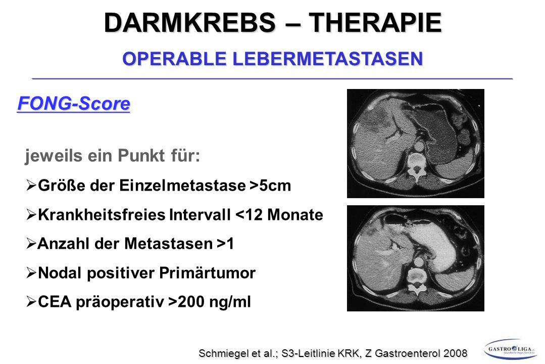 DARMKREBS – THERAPIE OPERABLE LEBERMETASTASEN FONG-Score jeweils ein Punkt für:  Größe der Einzelmetastase >5cm  Krankheitsfreies Intervall <12 Monate  Anzahl der Metastasen >1  Nodal positiver Primärtumor  CEA präoperativ >200 ng/ml Schmiegel et al.; S3-Leitlinie KRK, Z Gastroenterol 2008