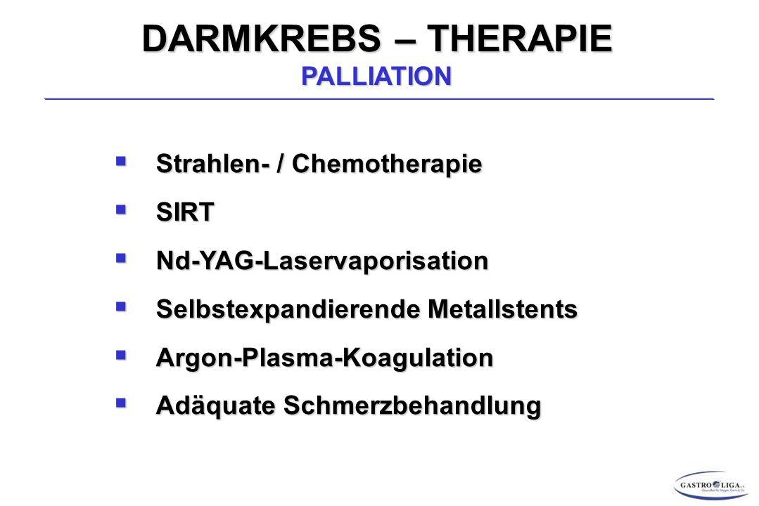 DARMKREBS – THERAPIE PALLIATION  Strahlen- / Chemotherapie  SIRT  Nd-YAG-Laservaporisation  Selbstexpandierende Metallstents  Argon-Plasma-Koagulation  Adäquate Schmerzbehandlung