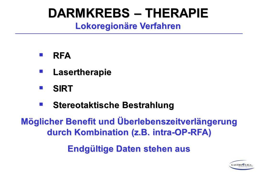 DARMKREBS – THERAPIE Lokoregionäre Verfahren  RFA  Lasertherapie  SIRT  Stereotaktische Bestrahlung Möglicher Benefit und Überlebenszeitverlängerung durch Kombination (z.B.