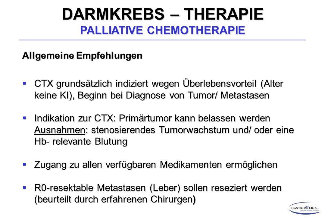 DARMKREBS – THERAPIE PALLIATIVE CHEMOTHERAPIE Allgemeine Empfehlungen  CTX grundsätzlich indiziert wegen Überlebensvorteil (Alter keine KI), Beginn bei Diagnose von Tumor/ Metastasen  Indikation zur CTX: Primärtumor kann belassen werden Ausnahmen: stenosierendes Tumorwachstum und/ oder eine Hb- relevante Blutung  Zugang zu allen verfügbaren Medikamenten ermöglichen  R0-resektable Metastasen (Leber) sollen reseziert werden (beurteilt durch erfahrenen Chirurgen)