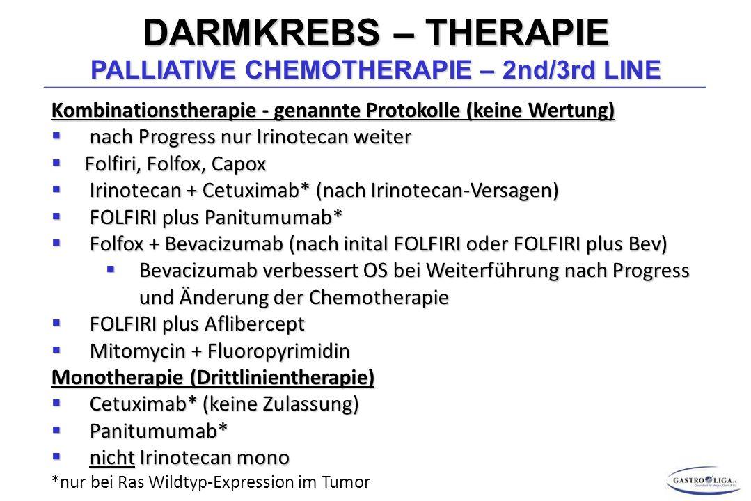 DARMKREBS – THERAPIE PALLIATIVE CHEMOTHERAPIE – 2nd/3rd LINE Kombinationstherapie - genannte Protokolle (keine Wertung)  nach Progress nur Irinotecan weiter  Folfiri, Folfox, Capox  Irinotecan + Cetuximab* (nach Irinotecan-Versagen)  FOLFIRI plus Panitumumab*  Folfox + Bevacizumab (nach inital FOLFIRI oder FOLFIRI plus Bev)  Bevacizumab verbessert OS bei Weiterführung nach Progress und Änderung der Chemotherapie  FOLFIRI plus Aflibercept  Mitomycin + Fluoropyrimidin Monotherapie (Drittlinientherapie)  Cetuximab* (keine Zulassung)  Panitumumab*  nicht Irinotecan mono *nur bei Ras Wildtyp-Expression im Tumor